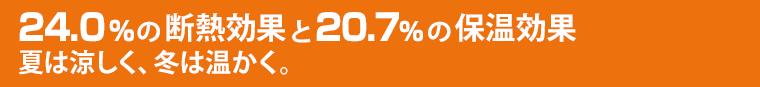 22.4%の断熱効果と20.7%の保温効果