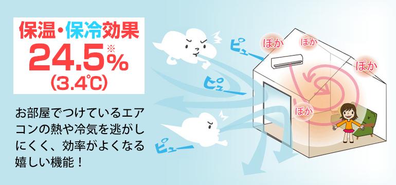 お部屋でつけているエアコンの熱や冷気を逃がしにくく、効率がよくなる嬉しい機能!